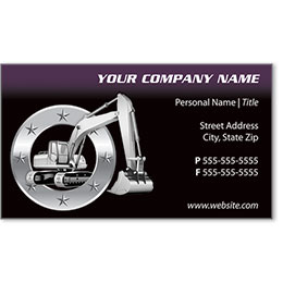 Full-Color Construction Business Cards - Excavator 2
