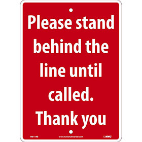 Please Stand Behind Plastic Sign
