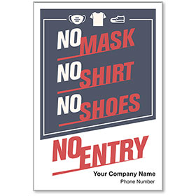 "No Mask No Entry Personalized Poster 13"" x 19"""