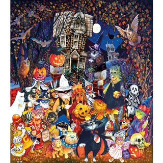 Cats and Dogs on Halloween 300 Large Piece Jigsaw Puzzle