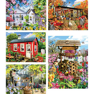 Set of 5: Lori Schory 300 Large Piece Jigsaw Puzzles
