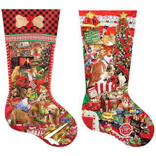 Set of 2: Playful Pets Shaped Stocking 800 Piece Jigsaw Puzzles