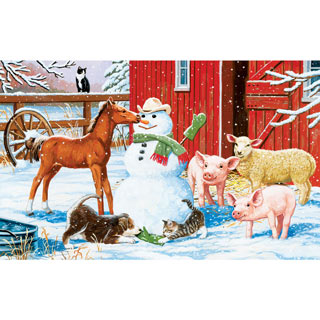 Winter Barnyard 300 Large Piece Jigsaw Puzzle