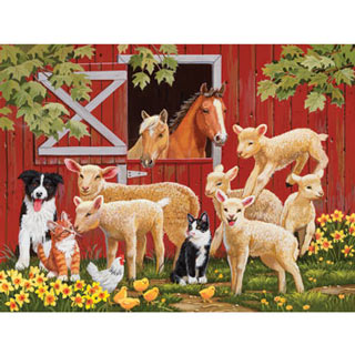 Lamb Parade 300 Large Piece Jigsaw Puzzle