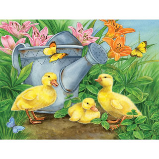 Ducklings and Butterflies 300 Large Piece Jigsaw Puzzle