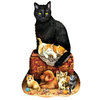 Kitty on Ottoman 1000 Piece Shaped Jigsaw Puzzle