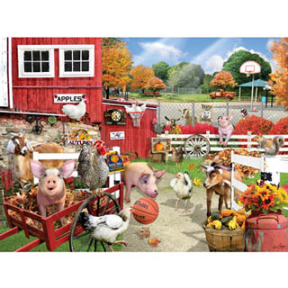 Barnyard Basketball 300 Large Piece Jigsaw Puzzle