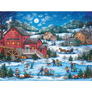 Skating at Fox Mill Pond 1000 Piece Jigsaw Puzzle