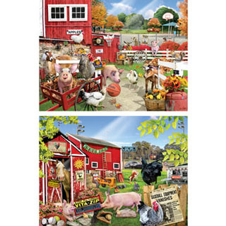 Set of 2: Barnyard Sports 300 Large Piece Jigsaw Puzzles