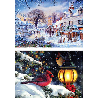 Set of 2: Winter Wonderland 1000 Piece Jigsaw Puzzles