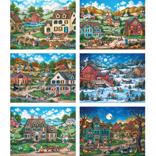 Set of 6: Bonnie White 300 Large Piece Jigsaw Puzzle