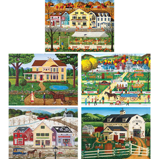 Set of 5: Art Poulin 550 Piece Jigsaw Puzzles