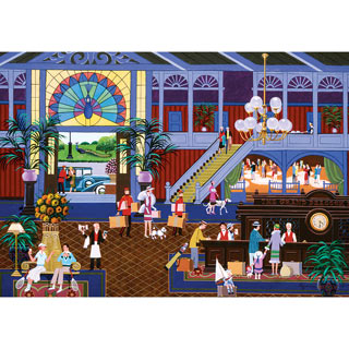 Checking In At The Grand Peacock Hotel 1000 Piece Jigsaw Puzzle