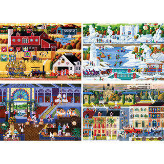 Set of 4: Heronim Hometown 1000 Piece Jigsaw Puzzles