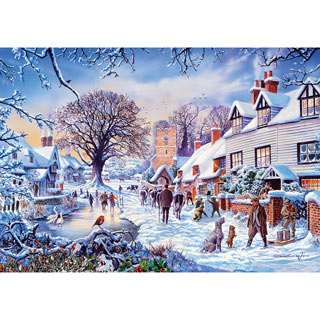 A Village in Winter 1000 Piece Jigsaw Puzzle