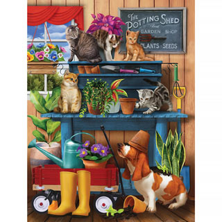 Trouble In The Potting Shed 300 Large Piece Jigsaw Puzzle