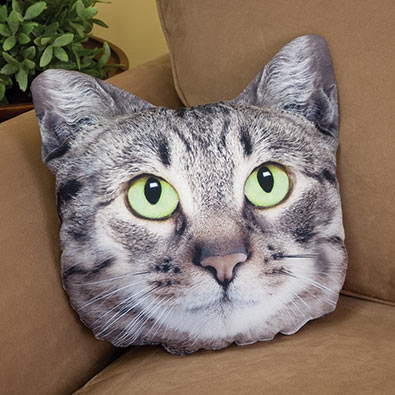 Gray Tabby Cat Face Pillow