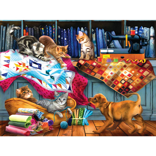 Quilting Room Mischief 300 Large Piece Jigsaw Puzzle