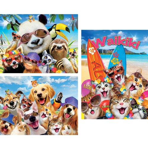 Set of 3: Vacation Animal Selfies 550 Piece Jigsaw Puzzles