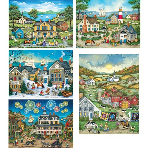 Set Of 5 Bonnie White 550 Piece Jigsaw Puzzles