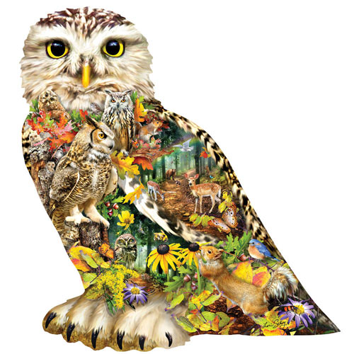 Forest Messenger Owl Shaped 650 Piece Jigsaw Puzzle