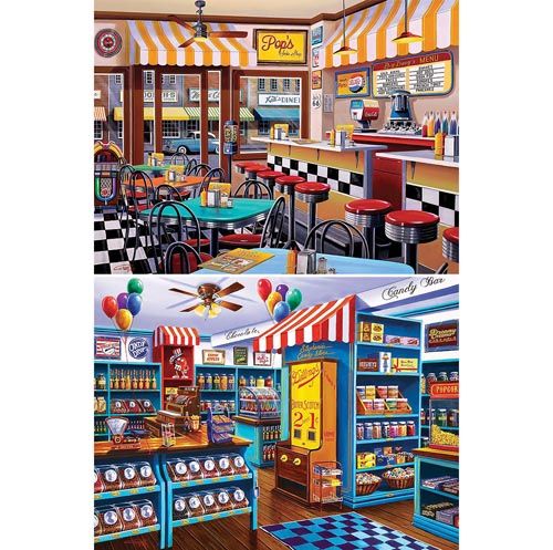 Set of 2: Old Fashioned Shop 750 Piece Jigsaw Puzzles