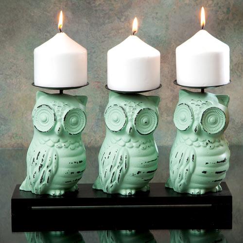 Three Owls Candle Holder