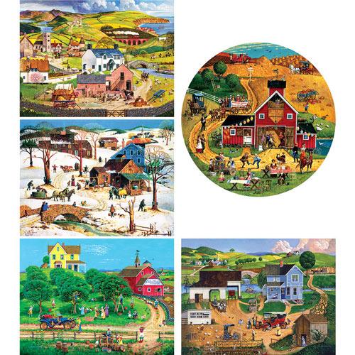 Set of 5: Bob Pettes 500 Piece Jigsaw Puzzles