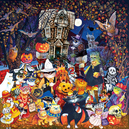 Cats and Dogs on Halloween 500 Piece Jigsaw Puzzle