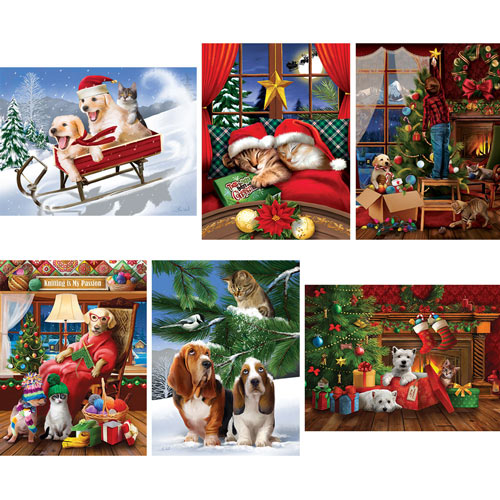 Set of 6: Tom Wood Holiday Pets 300 Large Piece Jigsaw Puzzles