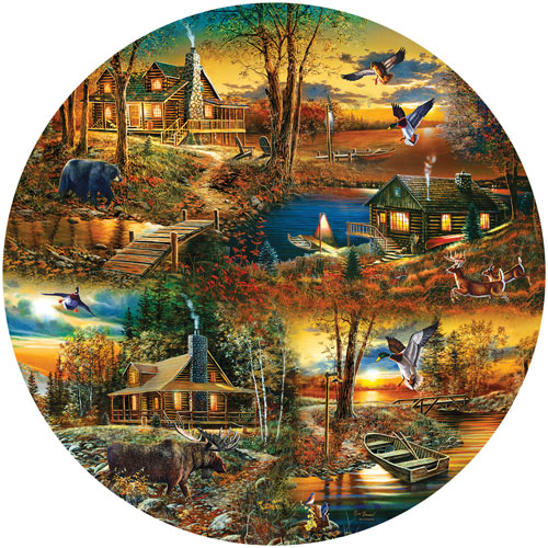 Cabins in the Woods 1000 Piece Round Jigsaw Puzzle