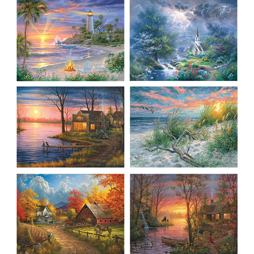 Set of 6: Abraham Hunter 300 Large Piece Jigsaw Puzzles