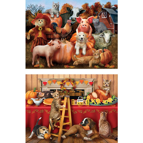 Set of 2: Thanksgiving Pets 300 Large Piece Jigsaw Puzzles