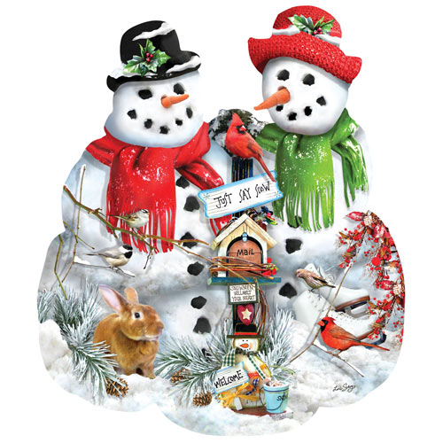 Snow Family 1000 Piece Shaped Jigsaw Puzzle