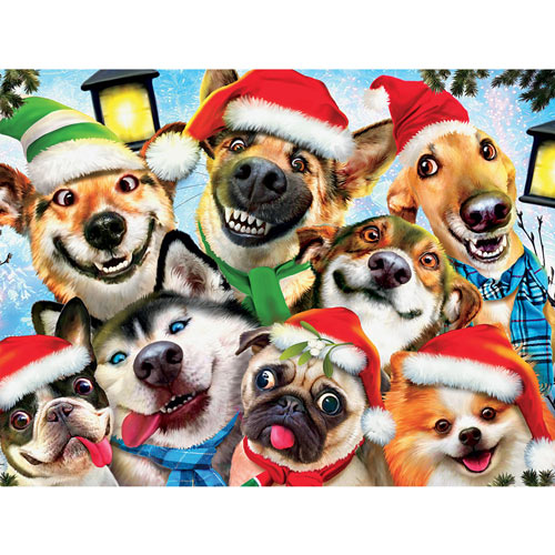 Christmas Cheer Dogs Selfie 550 Piece Jigsaw Puzzle
