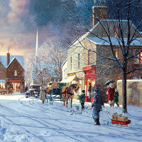 Winter Street Scene 300 Large Piece Jigsaw Puzzle