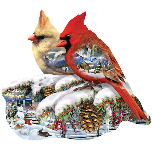 Winter Cardinals 800 Piece Shaped Puzzle