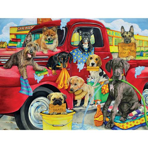 Puppy Car Wash 300 Large Piece Jigsaw Puzzle