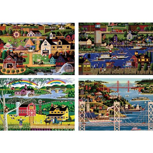 Set of 4: Heronim 1000 Piece Jigsaw Puzzles
