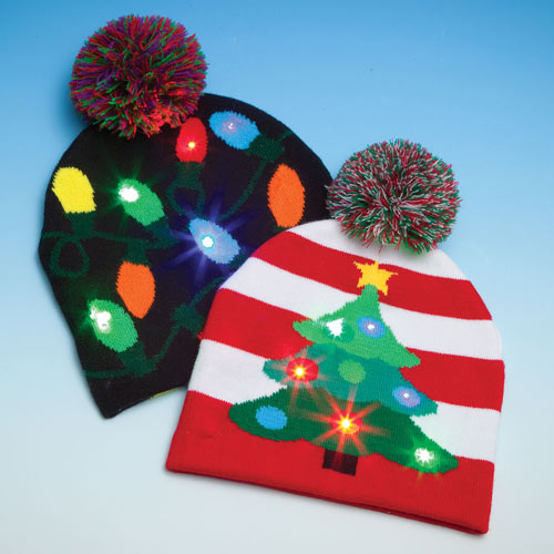 Light-Up Festive Christmas Caps- Tree