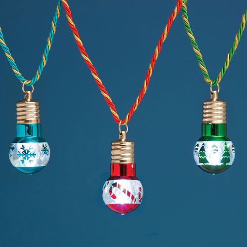 Light-Up Christmas Bulb Necklace Set