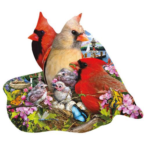 Spring Cardinals 800 Piece Shaped Jigsaw Puzzle