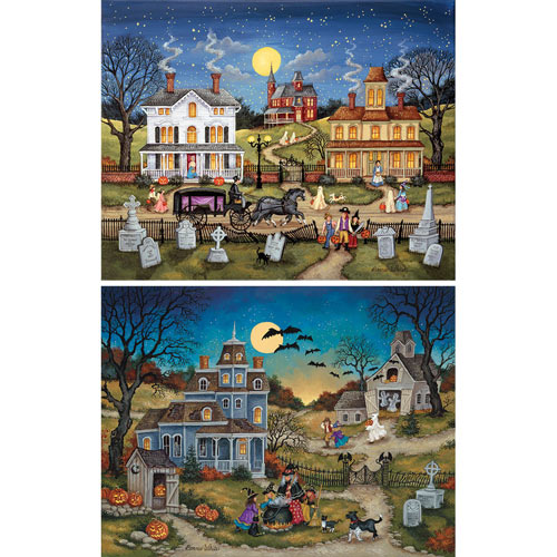 Set of 2: Bonnie White 500 Piece Halloween Jigsaw Puzzles