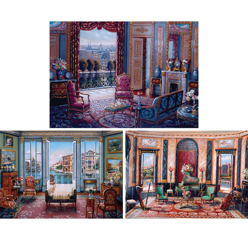 Set of 3: Elegant Interiors 1000 Piece Jigsaw Puzzles