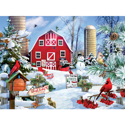 A Snowy Day on the Farm 300 Large Piece Jigsaw Puzzle