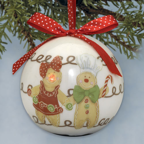 Blinking Holiday Ornament - Gingerbread Couple