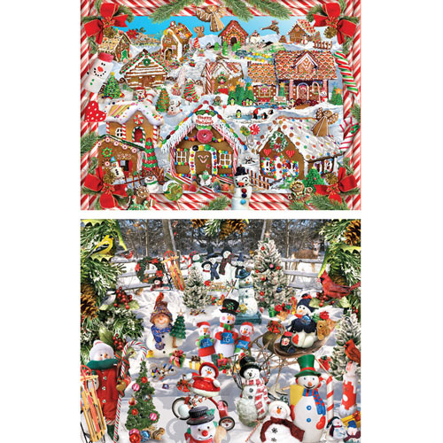Set of 2: Lori Schory Holiday 1000 Piece Jigsaw Puzzles