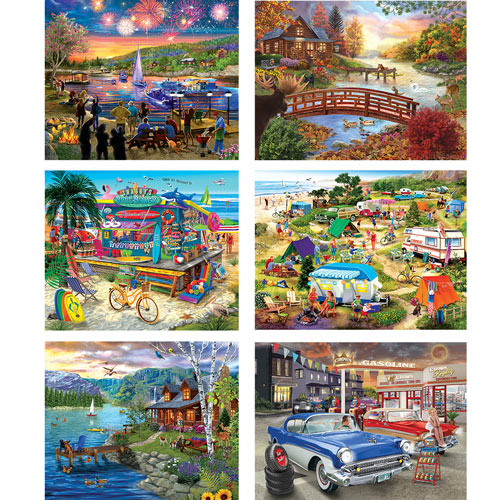 Set of 6: Chris Bigelow 300 Large Piece Jigsaw Puzzles