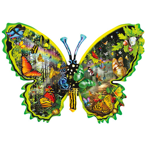 Butterfly Migration 1000 Piece Shaped Jigsaw Puzzle