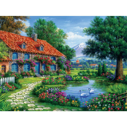 Rustic Cottage with Swans 550 Piece Jigsaw Puzzle